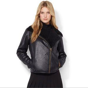 RALPH LAUREN | Faux Fur Black Moto Jacket Sz S
